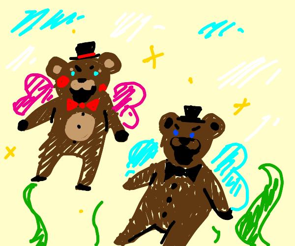 Toy Freddy flits with Freddy