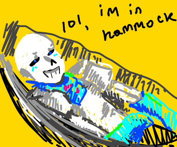 Sans in a hammock