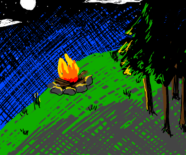 A night time campfire on a hill