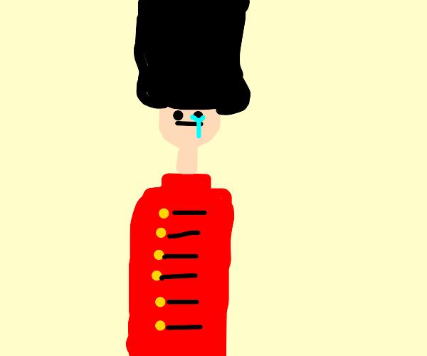Royal guard showing emotion