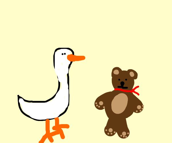 goose and a teddy bear