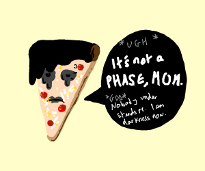 Goth slice of pizza with attitude