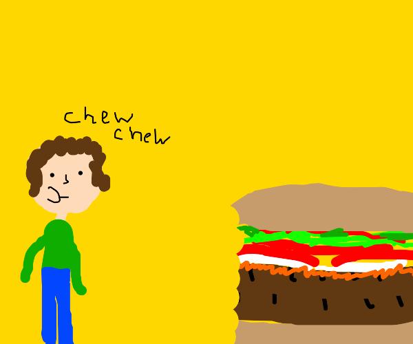 Man eats a burger that's bigger than him