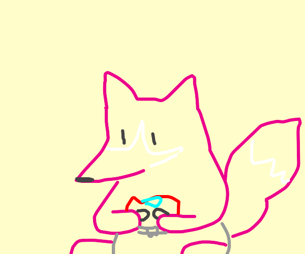 pink baby fox plays with cars