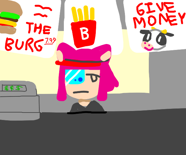 Catgirl working at a fast food joint