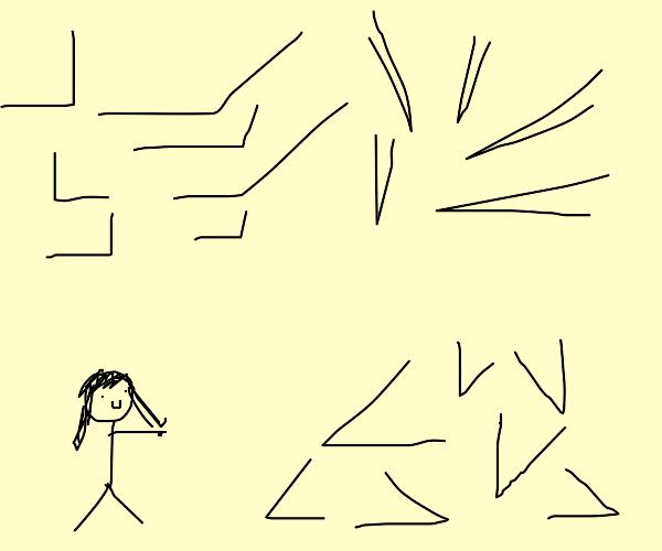 Girl pointing at 45 degree angles