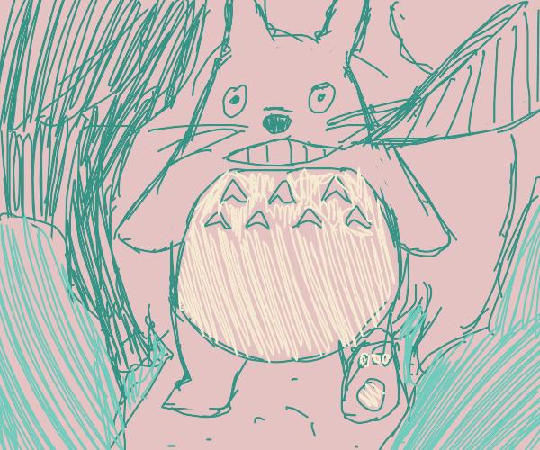 Totoro walking across a forest path