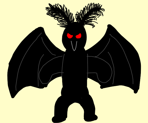 moth man with red eyes challenges you