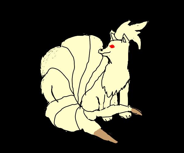 Nine tails the pokemon on black background