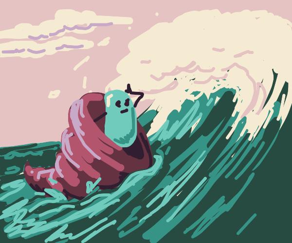 Bean rides a cornucopia into the ocean