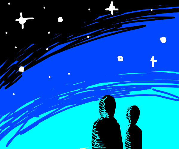 Two people under the stars