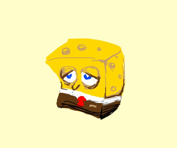 Sad spongebob with no limbs.