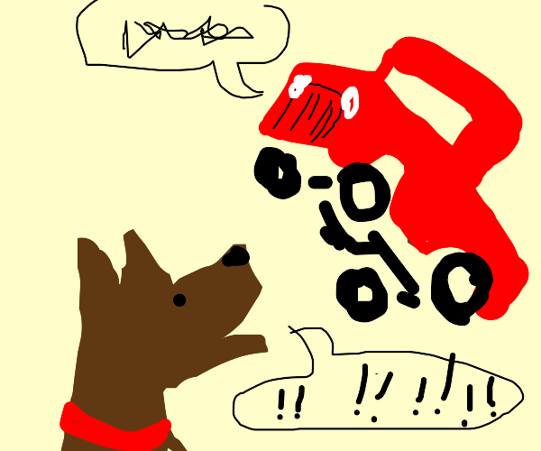 dog barking at truck