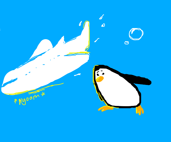 Penguin chases an airplane underwater