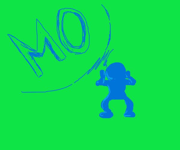 """Blue man yells """"MO""""!"""