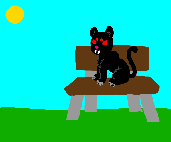 demon cat in a park