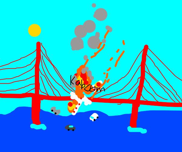 Fiery plane i in half over Golden Gate Bridge