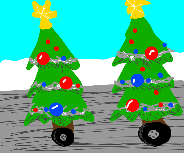 Christmas trees on wheels