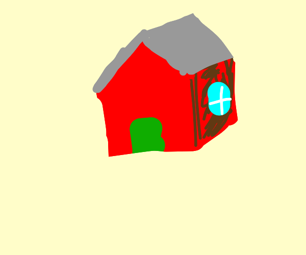 A simple red house in the middle of nowhere