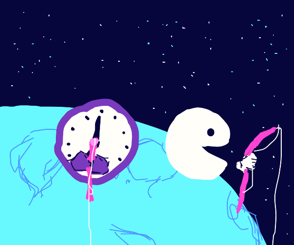 Pacman and  a clock fishing on the moon