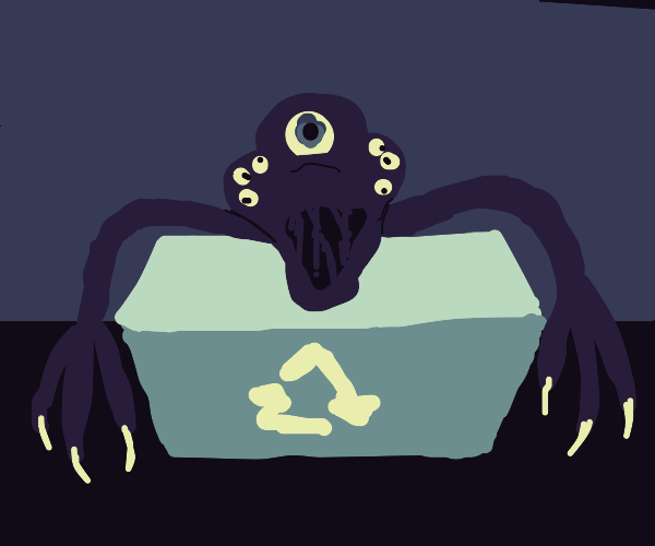 Creepy monster in recycling bin