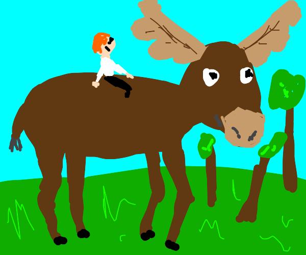 Riding a giant moose