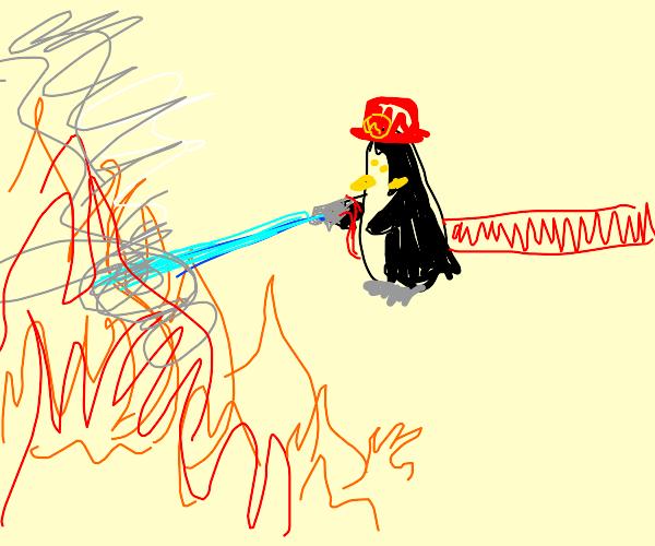 Penguin as a Firefighter