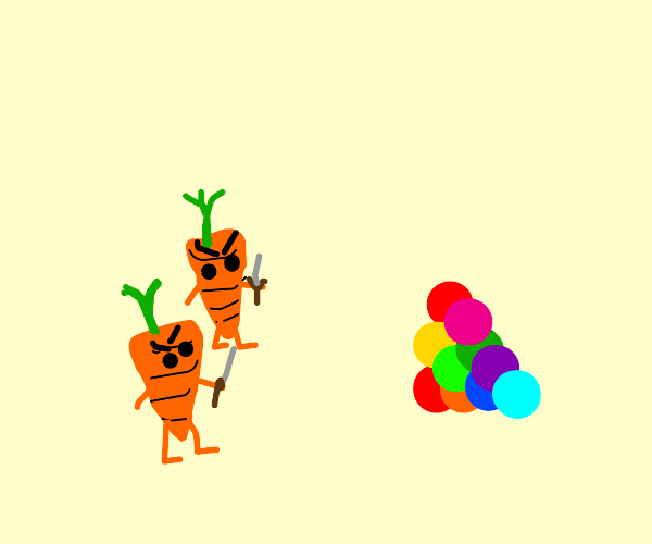 army of carrots attacking colored balls
