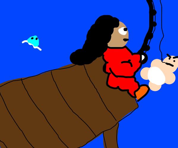 man saves drowning baby w trusty fishin' pole