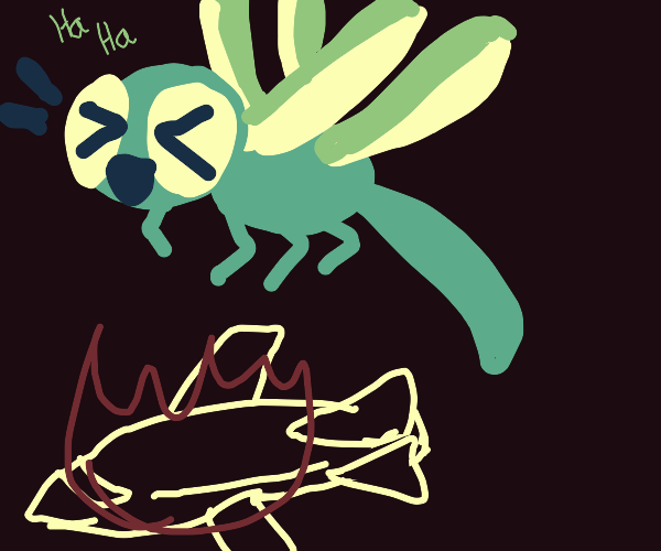 Giant dragonfly laughs at airplane's defeat