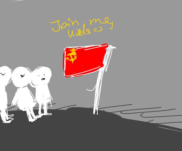 Communism flag makes children join them
