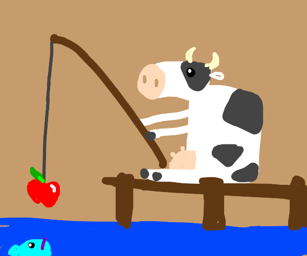 cow uses apple as fish bait