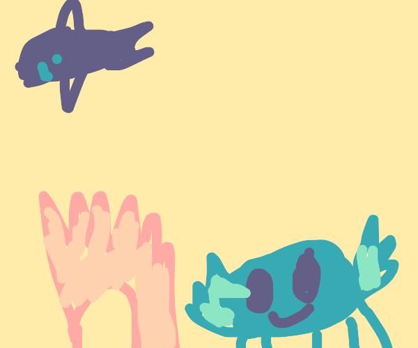 Cute blue crab arm thing made a sand castle