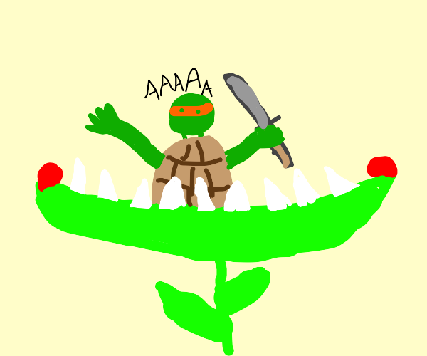 Ninja Turtle gets eaten by alien plant