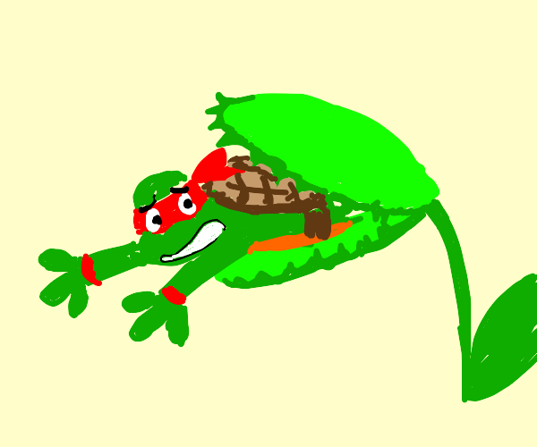 Ninja turtle being eaten by venus flytrap