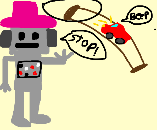 Robot with pink hat stops a red car on bridge