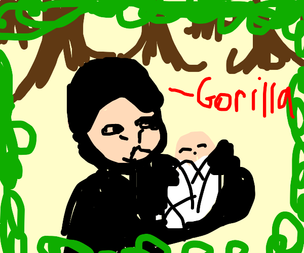 Gorilla hugging a baby in the jungle