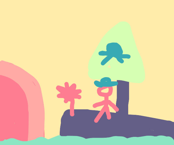 Pirate ship by a cave