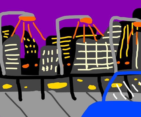 cityscape with row of streetlights