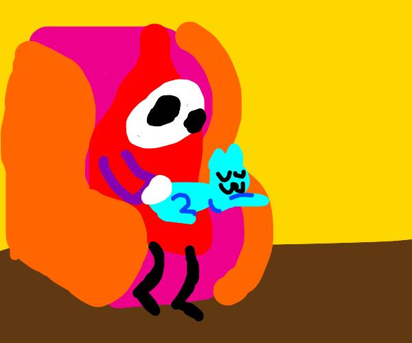 Shyguy petting his cat