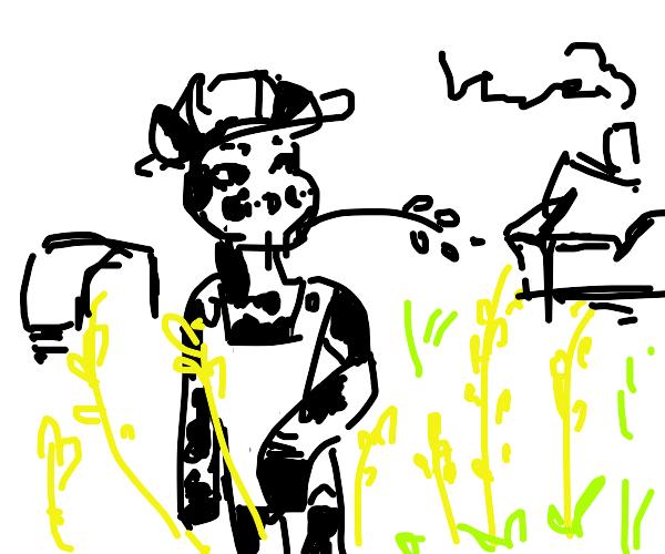 furry cow as a farmer