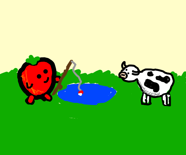 Tomato fishing is puddle while cow watches
