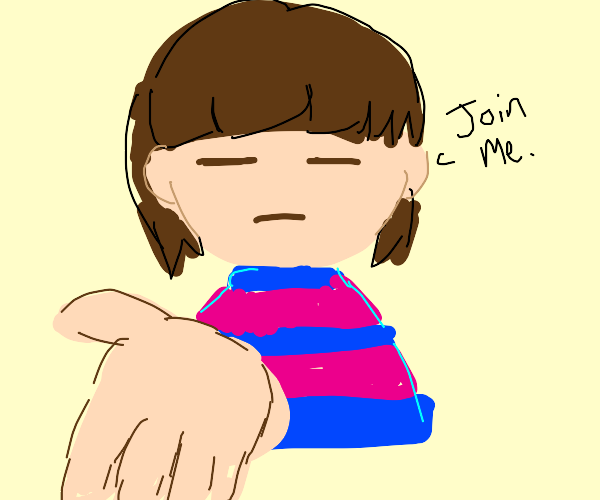 Kid from undertale asking you to join him