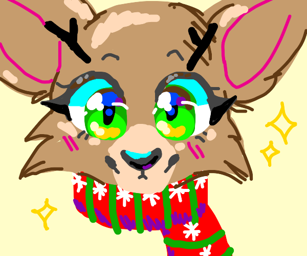 Reindeer lady happily wearing Christmas shawl