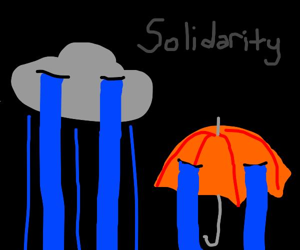 Raincloud and umbrella are both depressed
