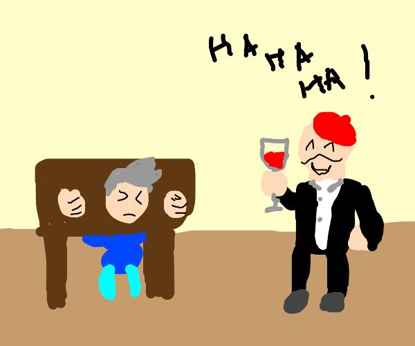 Man in stocks mocked by wine drinker