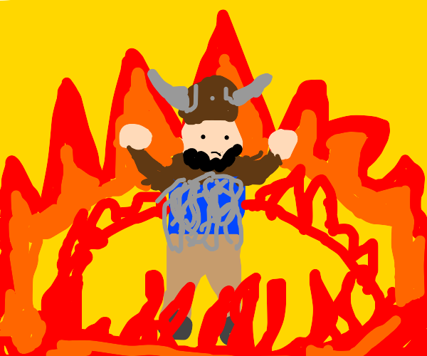 Viking surrounded by fire