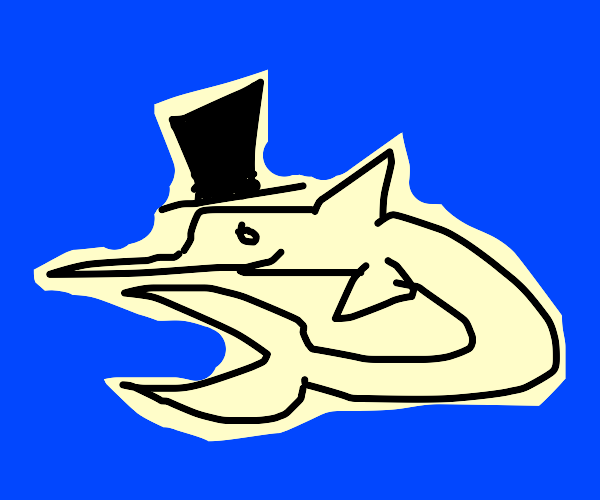 Swordfish wearing a Top Hat