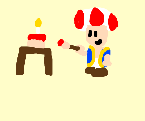 Toad painting red birthday cake