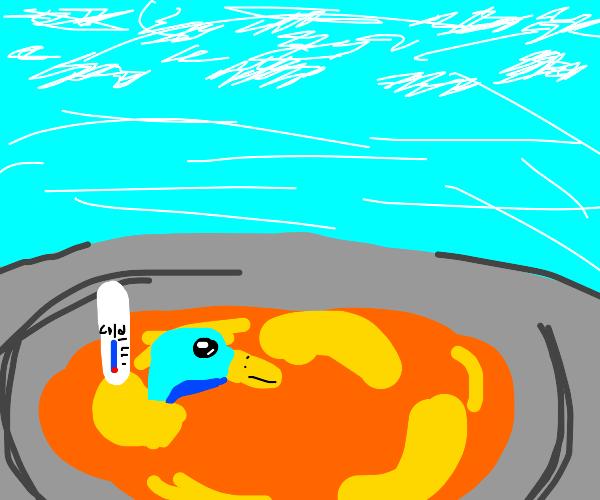 cool duck in lava